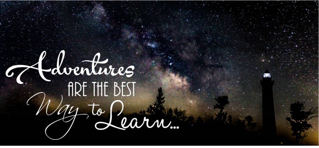 "Picture of Milky Way with quote that states ""Adventures are the best way to learn..."""