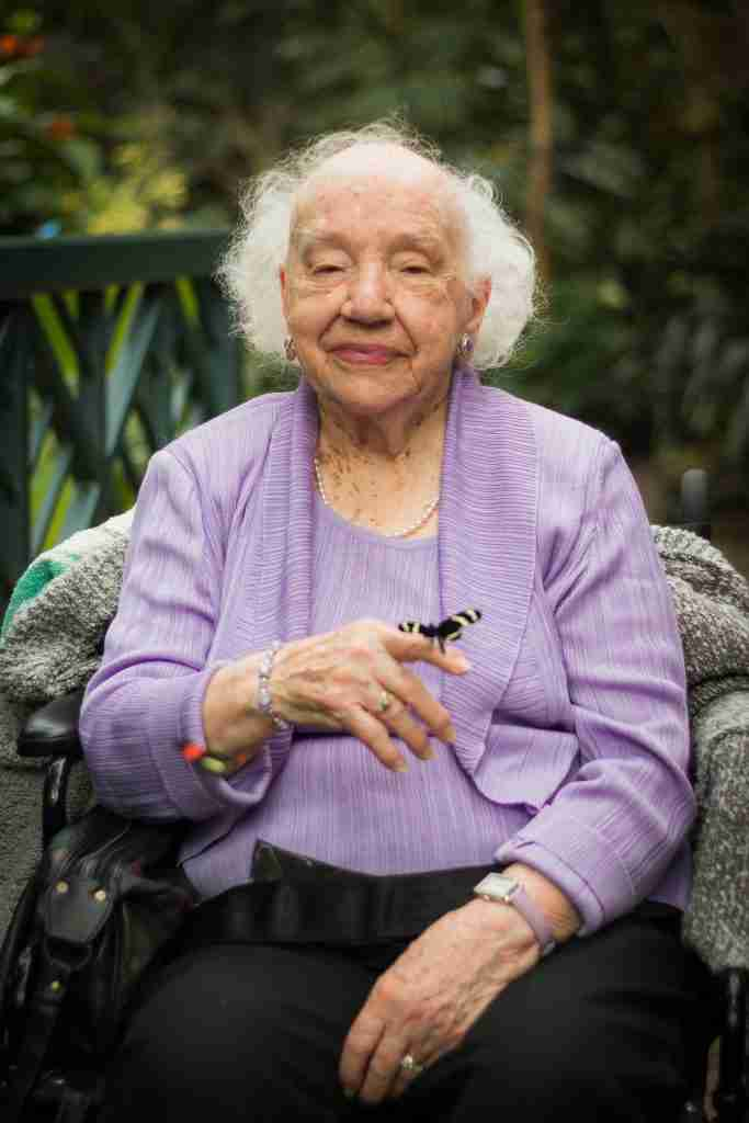 Mrs. Meijer with butterfly photo