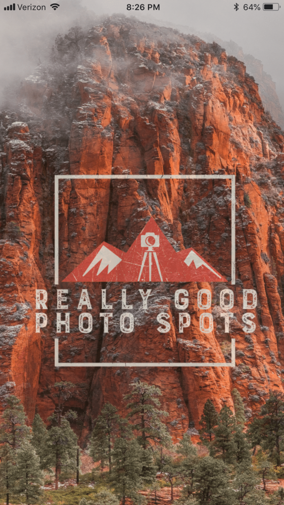 Title Page for Really Good Photo Spots App