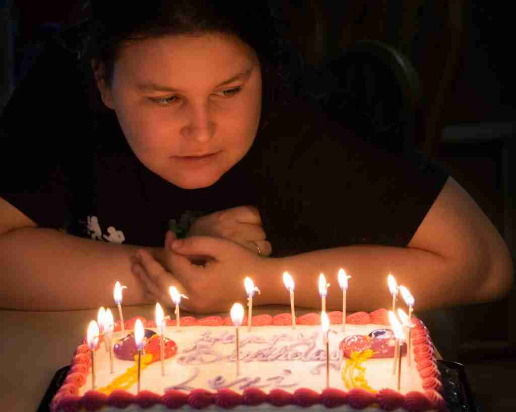 Nighttime birthday photo by Candlelight
