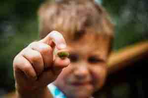 bokeh boy with an acorn