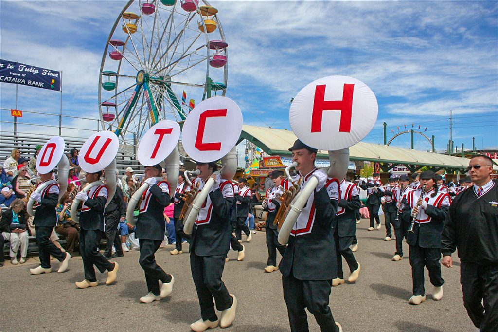 The Holland Dutch marching band lead the parade during holland michigan's tulip time