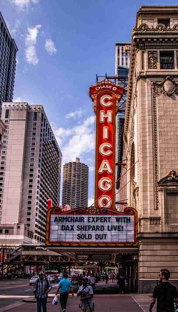 The Iconic Chicago Theater from the street