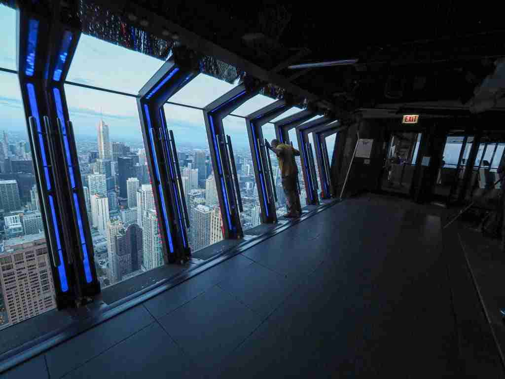 The Tilt ride in the Hancock Building 360 View