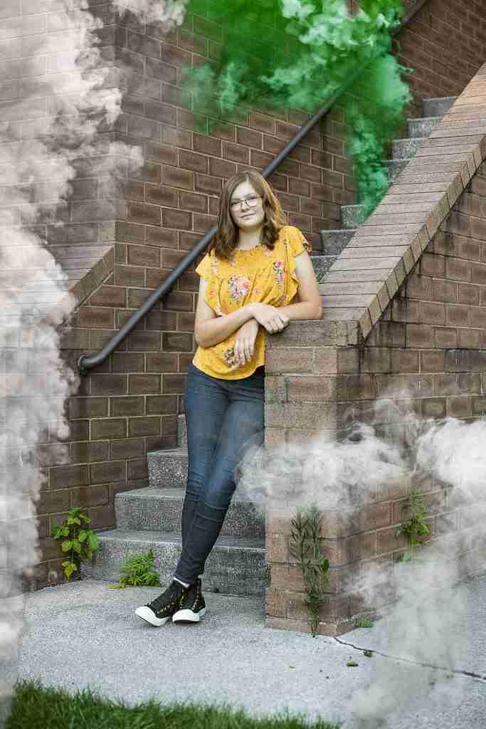 Hanna Senior Portrait Stairs Smoke