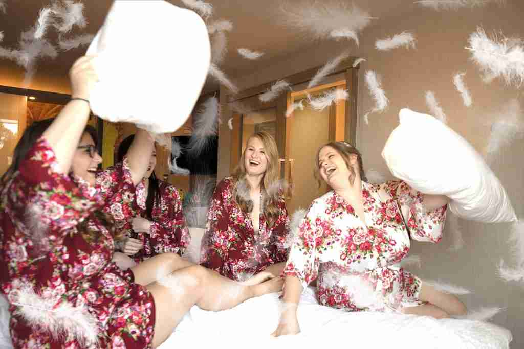 Pillow Fighting Bridesmaids