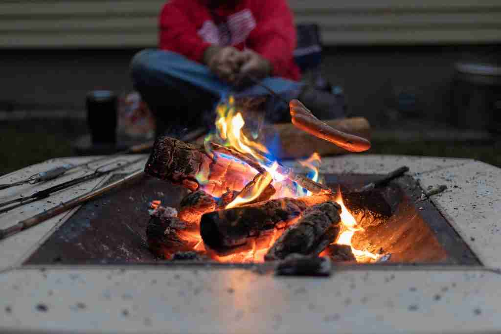 firepit with colored flames