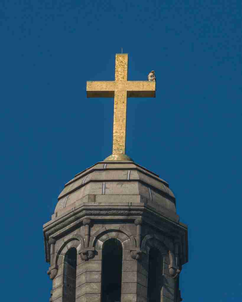 Cross at the top of Cathedral Basilica with Falcon perched