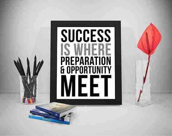 Success is where preparation and opportunity meet - on a poster
