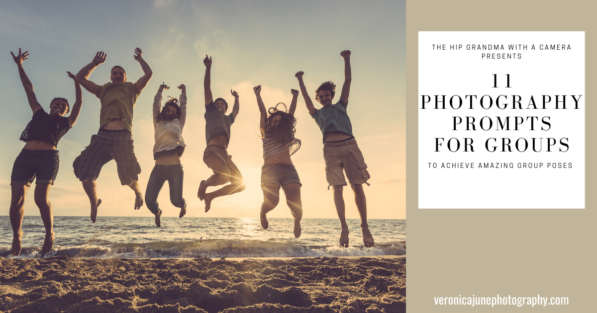 Ad image for Photography Prompts for Groups showing a crowd of people on the beach jumping in the air