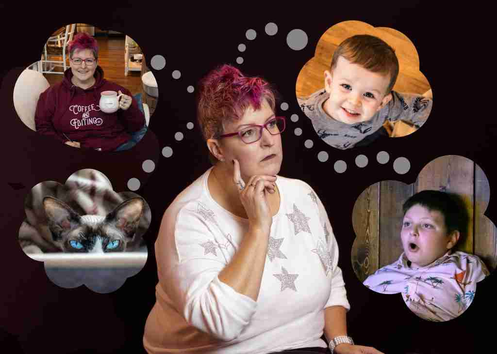 Hip grandma with pink hair with thought bubbles showing people and work