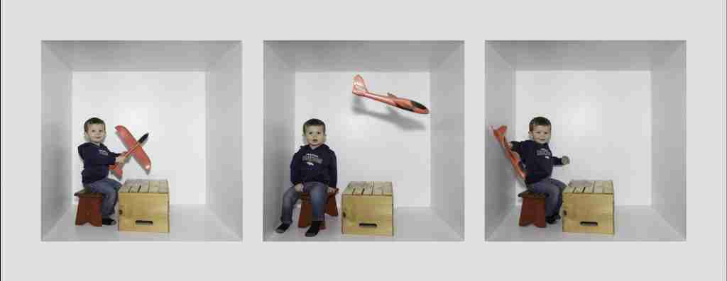 Box Photography template showing toddler with an airplane