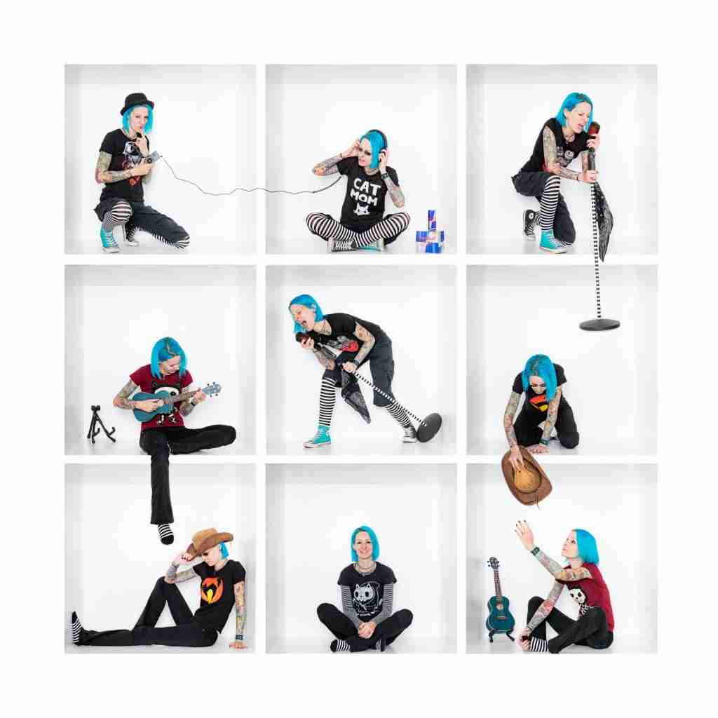 a girl with blue hair playing a variety of instruments in a creative in-the-box photography composite
