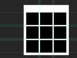 Photoshop screenshot of 9 black squares in a template for box photography