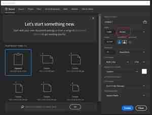Photoshop screenshot for how to size a new document
